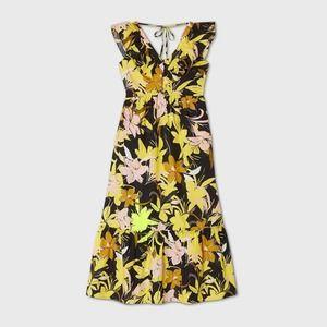 Small Yellow Floral Ruffle Sleeveless Midi Dress